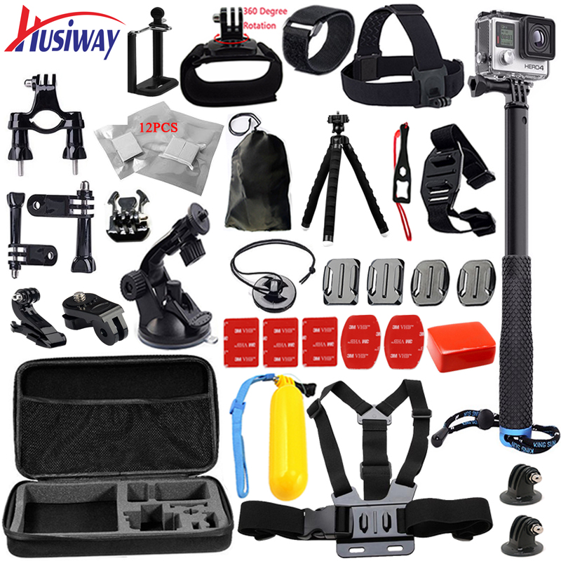 Husiway For all gopro accessories kit for go pro hero 5 4 3 2 set tripod