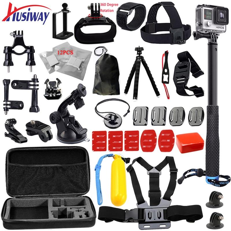 Husiway For all gopro accessories kit for go pro hero 5 / 4 /3/2 set  tripod mount for Xiaomi yi Camera / sjcam / EKEN H9R 13A