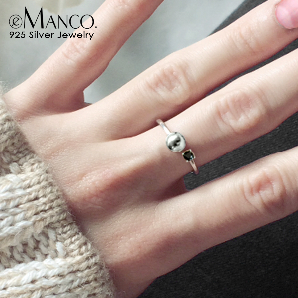 Open-Ring Fine-Jewelry Minimalist Girl Emanco Zircon Gifts Silver Engagement Women Trendy