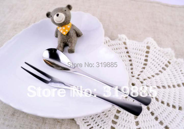 6 sets/lot stainless steel afternoon tea set fruit fork coffee spoon free shipping as gift