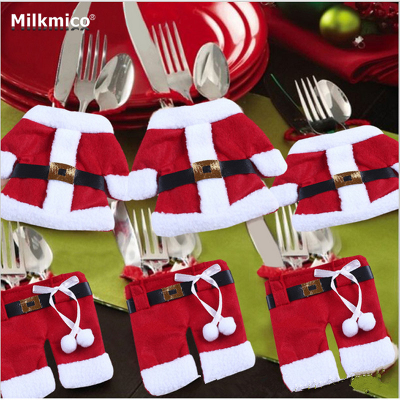 Milkmico Christmas Cloth Bags Dining Table Knife Fork Holder Navidad Christmas Table Tree Decorations Party Supplies 2017 New