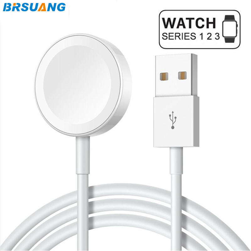20pcs lot BRSUANG Watch Magnetic Fast Wireless Charger Pad SmartWatch Quick Charger Plastic Cable For Apple