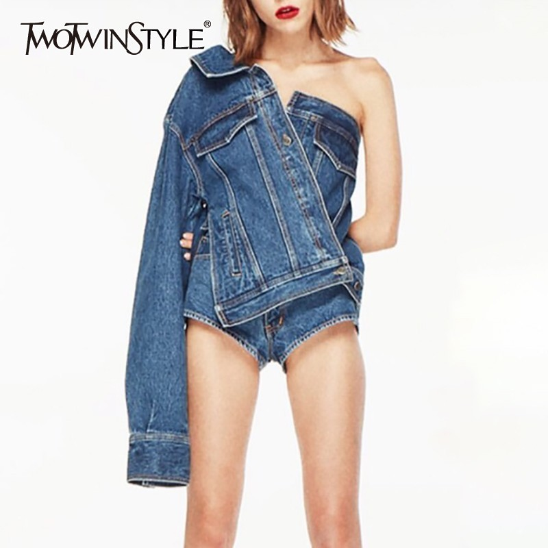 TWOTWINSTYLE Casual One Shoulder Denim Jacket For Women Lapel Long Sleeve Button Side Split Coat Female Fashion Summer 2020