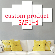 SAF1-4 US Soldier with American Flag Custom Painting 5 Panels Framed for Livingroom Background Decoration Posters Drop Shipping