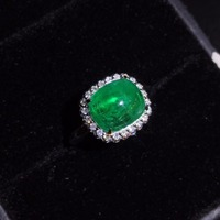 Fine Jewelry GIL 18K Gold 100% Natural Vivid Green Emerald Cabochon Gems 3.6ct 18k Gold Diamonds Female Ring for Women Rings
