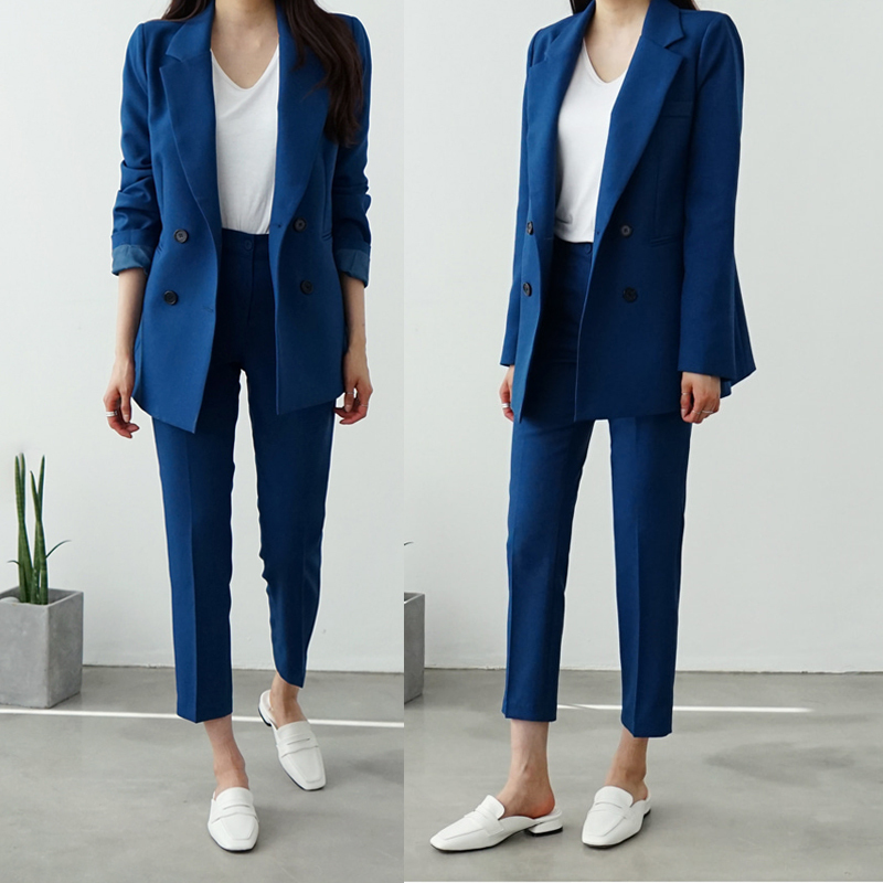 New Spring BF Style Double-breasted Button Women Pink Blazer High Waist Small Straight Pants Long Sleeve Suits 2 Pieces Set