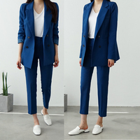 New Spring BF style Double breasted Button Women Pink Blazer High Waist Small Straight Pants Long Sleeve Suits 2 Pieces Set