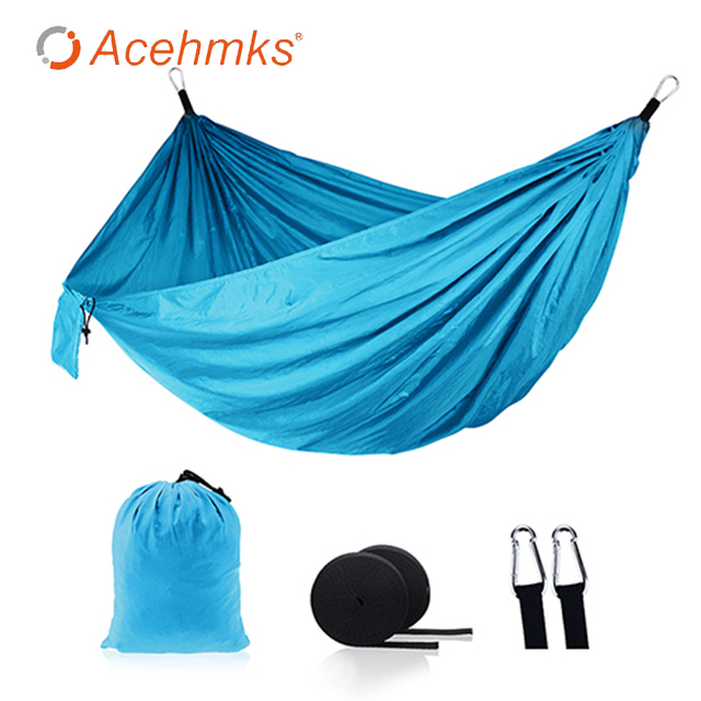 Acehmks Two Person Camping Hammock Leisure Travel Portable Hammock Size 270x140cm Garden Swing For Adults Mosquito Net Camping