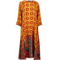 Новый Винтаж модные длинное платье для Для женщин шелк Материал сезон: весна–лето классический Стиль шею цветочные Дизайн высокое качеств