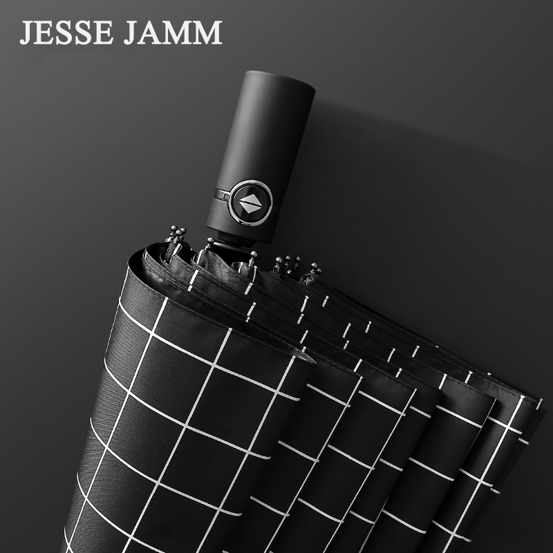 JESSEKAMM 2018 New Design Auto Open Auto Close Compact Umbrellas High Quality Strong Windproof UPF55+ Fashion Checked Umbrellas