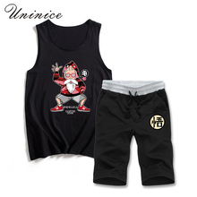 New Fashion Summer Men's Sleeveless Sets Sportswear Cartoon Printed Teenagers dragon ball Clothes  Vest with Shorts Set