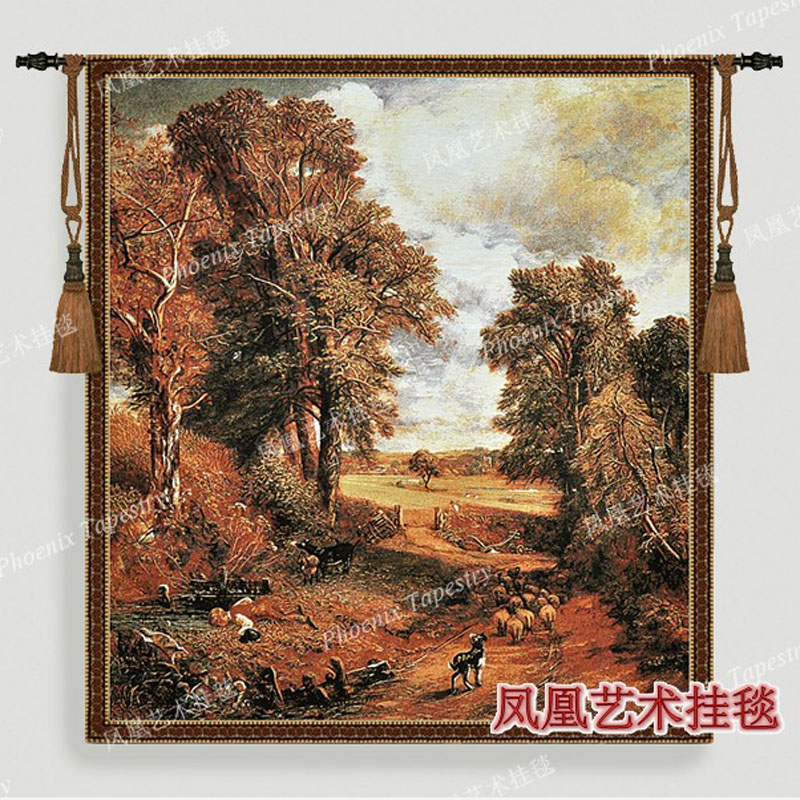 Home decoration tapestry wall hanging Autumn countryside landscape big size149 137cm jacauard fabric decor aubusson mural