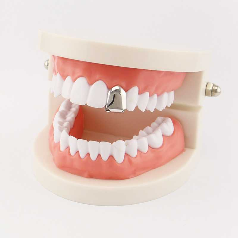 Hip Hop Gold Teeth Grillz Top & Bottom Grills Dental Mouth Punk Teeth Caps Cosplay Party Tooth Rapper Jewelry Gift