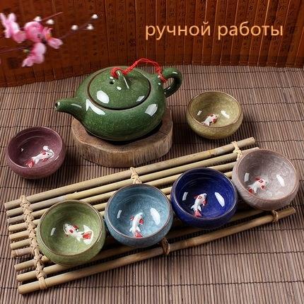Drinkware 7 pcs/lot tea set,Multi Colors Ice Crackle Glaze 3D Carp Tea Cup Purple Clay Tea Sets Creative Gifts Free Shipping
