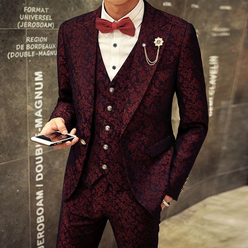 3 Pieces Slim Fit Suits Men 2017 Blazer+Vest+Pants Fashion Luxury Mens Suits floral Print Party Costume Homme Wedding Dress suit