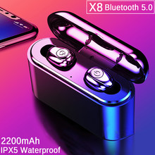 TWS Bluetooth Earphone 5.0 Invisible Mini Wireless Headphone Bass Earbuds Headset with 2200 mAh Charging Box Power Bank(China)