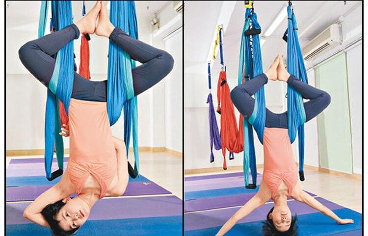 6 couleurs force décompression yoga hamac Inversion trapèze Anti-gravité Traction aérienne yoga Gym sangle yoga balançoire ensemble - 3