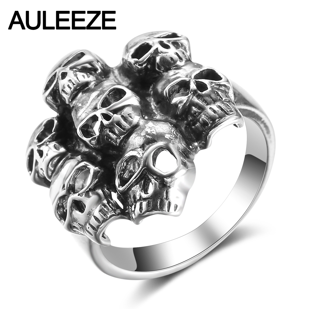 AULEEZE Halloween Hyperbole 7 Skulls Ring Real 925 Sterling Silver Finger Rings For Men Trendy Hip Hop Rock Jewelry купить