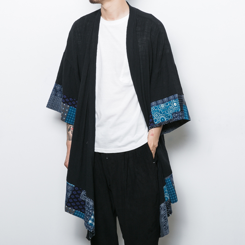 China Style Men Cotton Linen Cardigan Coat Trench Jacket Male Loose Shawl Long Kimono Windbreaker Outwear