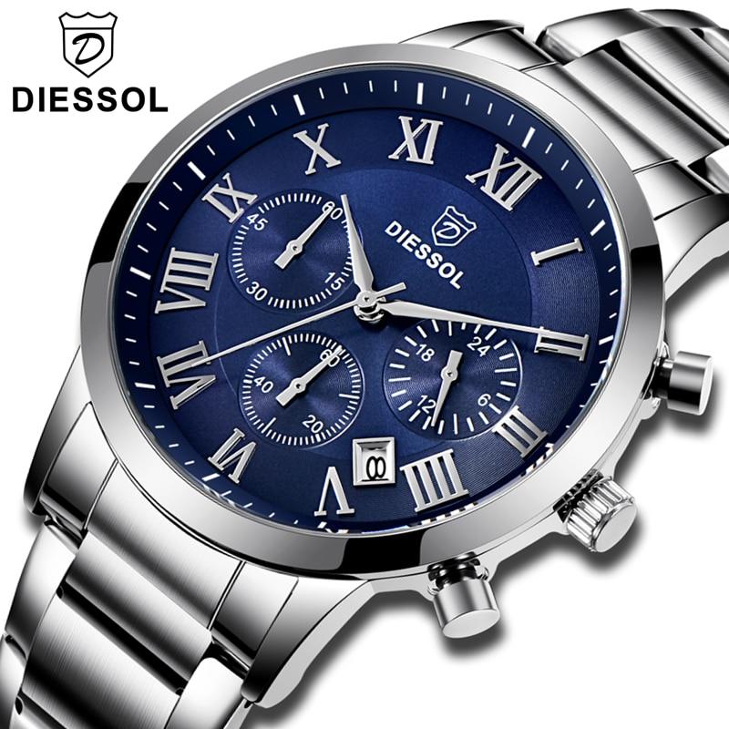 DIESSOL 腕時計メンズファッションクロノグラフクォーツ時計カジュアルメンズ腕時計トップブランドの高級防水スポーツウォッチレロジオ Masculino  グループ上の 腕時計 からの クォーツ時計 の中 1