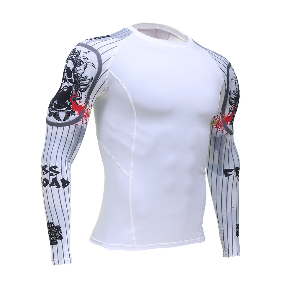 Enhanced Muscle Man Compression Slim T-Shirt Long-Sleeve 3D Print MMA Rashguard Fitness Base Layer Clothing