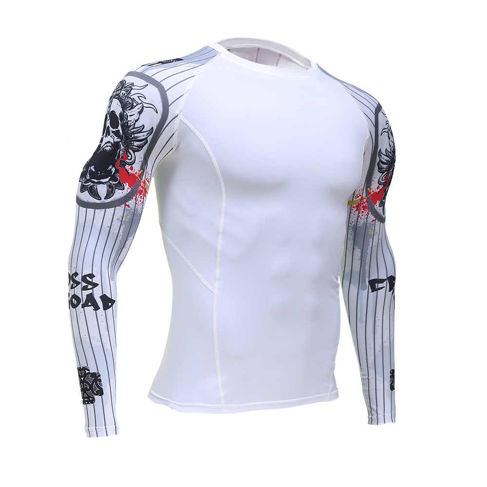 تعزيز العضلات رجل ضغط ضئيلة تي شيرت طويلة الأكمام ثلاثية الأبعاد طباعة MMA Rashguard اللياقة البدنية قاعدة طبقة الملابس