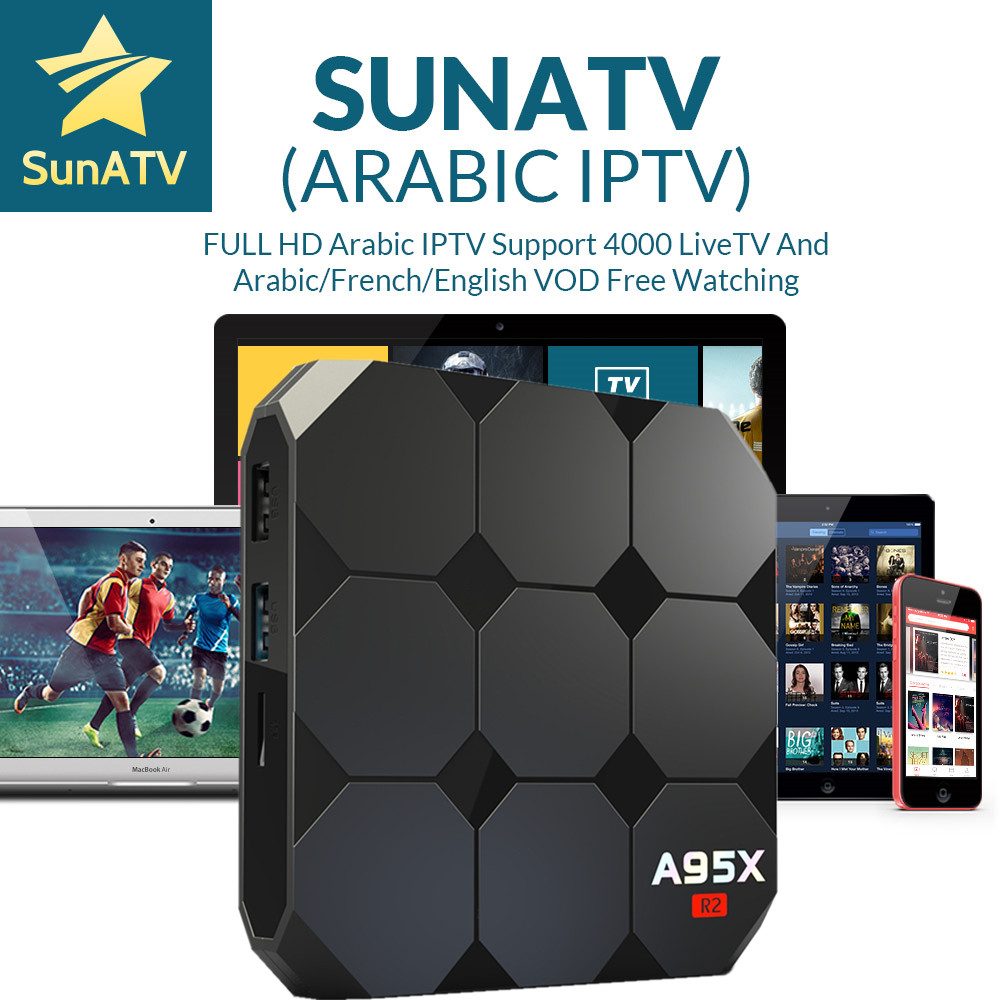 цены SUNATV A95x R2 Android 7.1 IPTV BOX With 1 Year Arabic/France/Belgium/Netherland/Turkey/Portugal IPTV VOD Set-top box