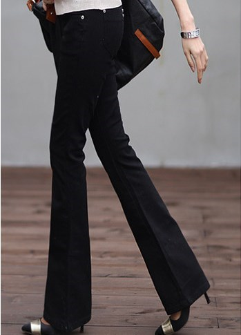 2017 Spring Woman Black White Jeans Straight Cut Boot Flare Jeans For Women Push Up Skinny Jeans Long Bell Bottom Jens Pants