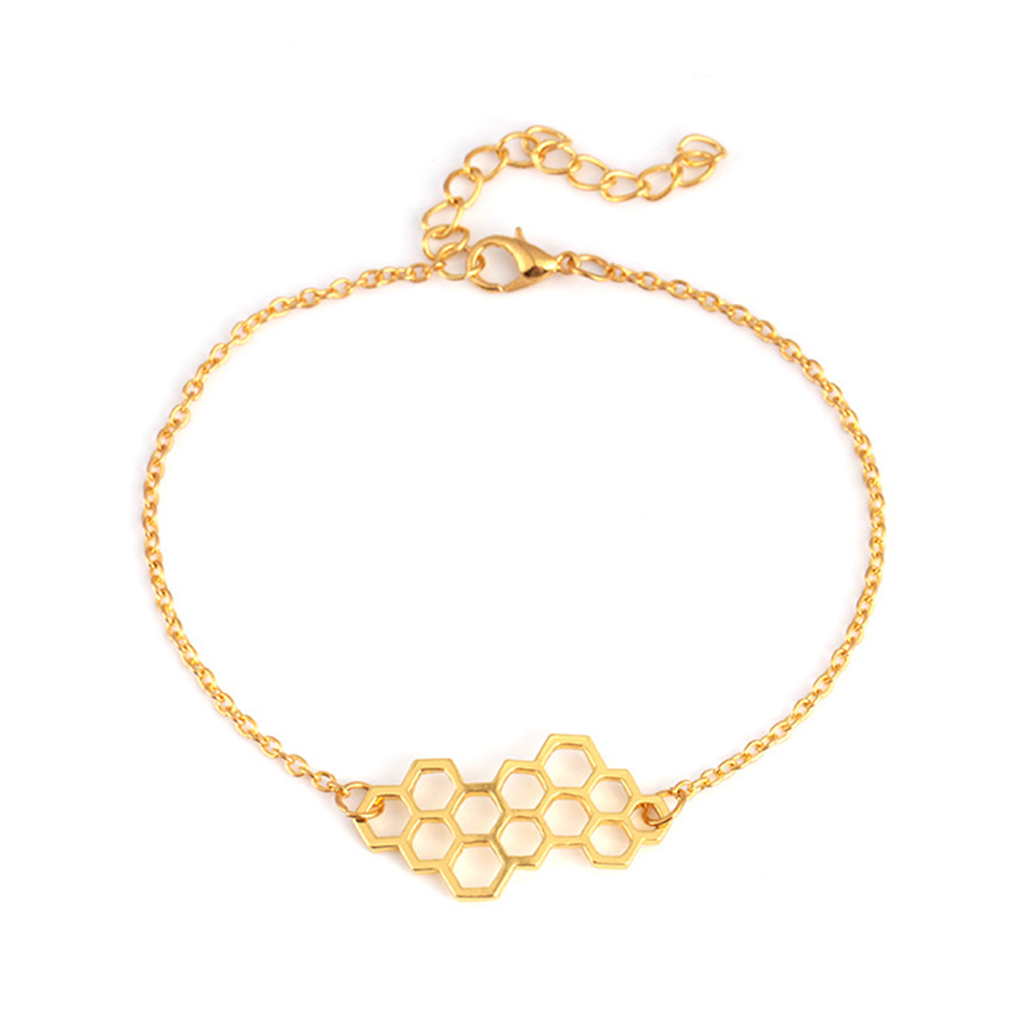 Hexagon Link Chain Geometric Jewelry Cute Honeycomb Silver Gold Color Beehive Honey Bee Bracelet