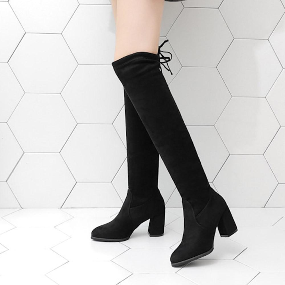 Jual Sepatu Boots Panjang Selutut Bahan Kulit Imitasi Dengan