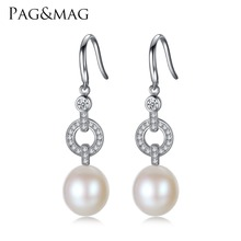 PAG&MAG Brand Sterling Silver Women Earrings with 10-11mm Freshwater Pearl Drop Earrings High Quality Wholesale Gift Box Free