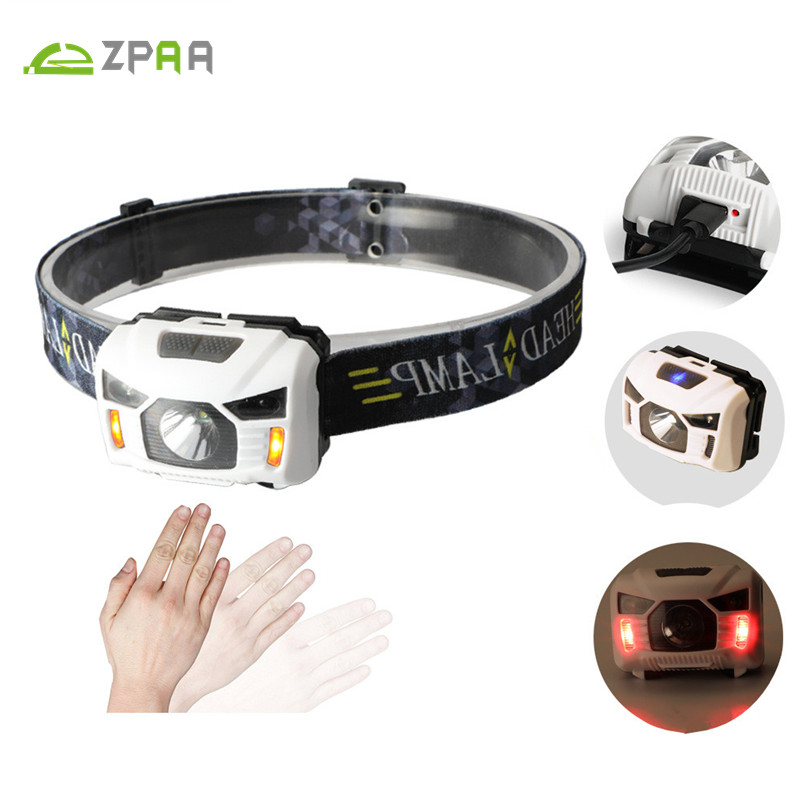 Mini Portable IR Sensor Headlight R5 XPE LED USB Rechargeable Lantern USB Headlamp Red/White Light Head Torch Built-in Battery цена