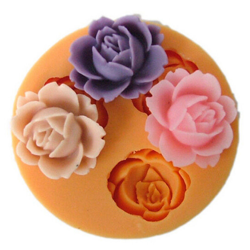 Rose Flower Silicone for Fondant Cake Decorating Chocolate Cookie Zeep Fimo Polymer Clay Resin