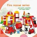 HM067 86 UNIDS de partículas Grandes bloques de construcción de juguetes DIY Aprendizaje Temprano de bomberos serie ladrillos compatible con LEGOED DUPLOED