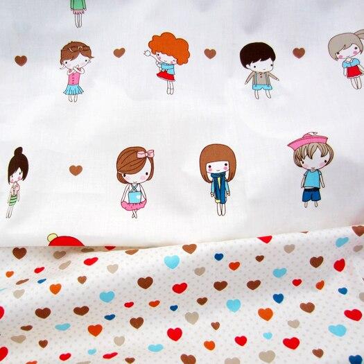 Muchachas Del Corazón Impresión Syunss Tela de Algodón Textiles para El Hogar ed