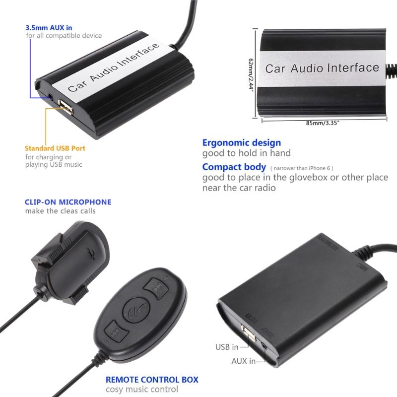 OOTDTY kit mains libres Bluetooth pour voiture Interface adaptateur MP3 AUX pour Mazda 3 5 6 RX8 SPD-m15 - 3