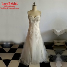 Plus Size Real Elegant A Line Sweetheart Beaded Silver Lace Wedding Dresses 2016 Long Bridal Gowns vestidos de noivas BLW21