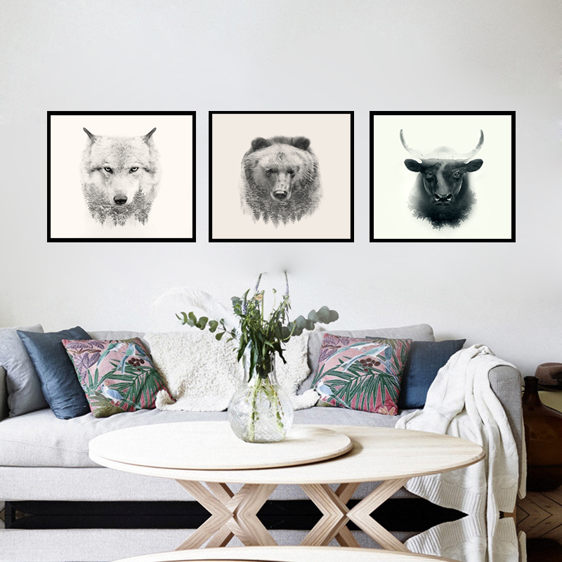 Forest Animal Silhouette Wolf Bear Cow Nordic Canvas Art Print Painting Poster Wall Pictures For Home Decoration Boy Room Decor