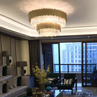 Pendant Light Brief Bronze Metal Stainless Steel Luxury Crystal Pendant Light Chandeliers