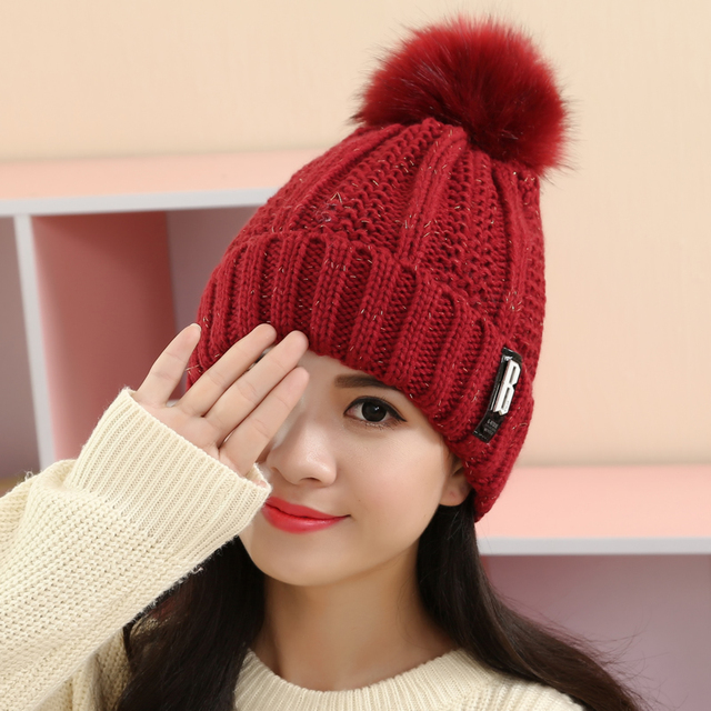 Knitted Ball Fur Hats Sweet Girl Faux Fur Thermal Hat Top Fashion Female Thickening Skullies All Match Beanies Hat 6Colors