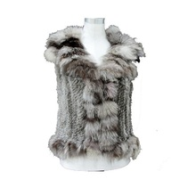 Natural Knitted Rabbit Fur Vest With Fox Collar ~ NEW STYLE FAST SHIPPING