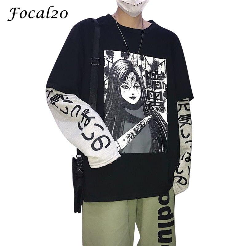 Focal20 Cartoon Japanese Anime Character Women Sweatshirt Patchwork Long Sleeve Autumn Winter Female Sweatshirt Pullover
