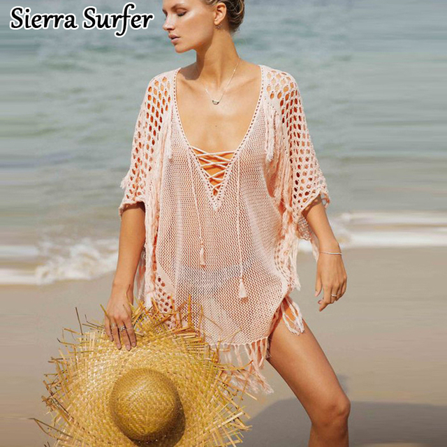 6a5c4bc2cce91 Beach Cover Up Summer Wear Kaftan Ladies Beachwear Dresses 2018 Swim Suit  New Knitting Smock Cangas