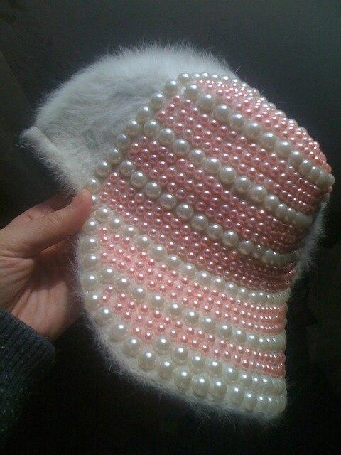 Princess sweet lolita hat Soft amo pink handmade white pearl Fluffy plush rabbit fur young girl baseball cap lolita cap ac0923
