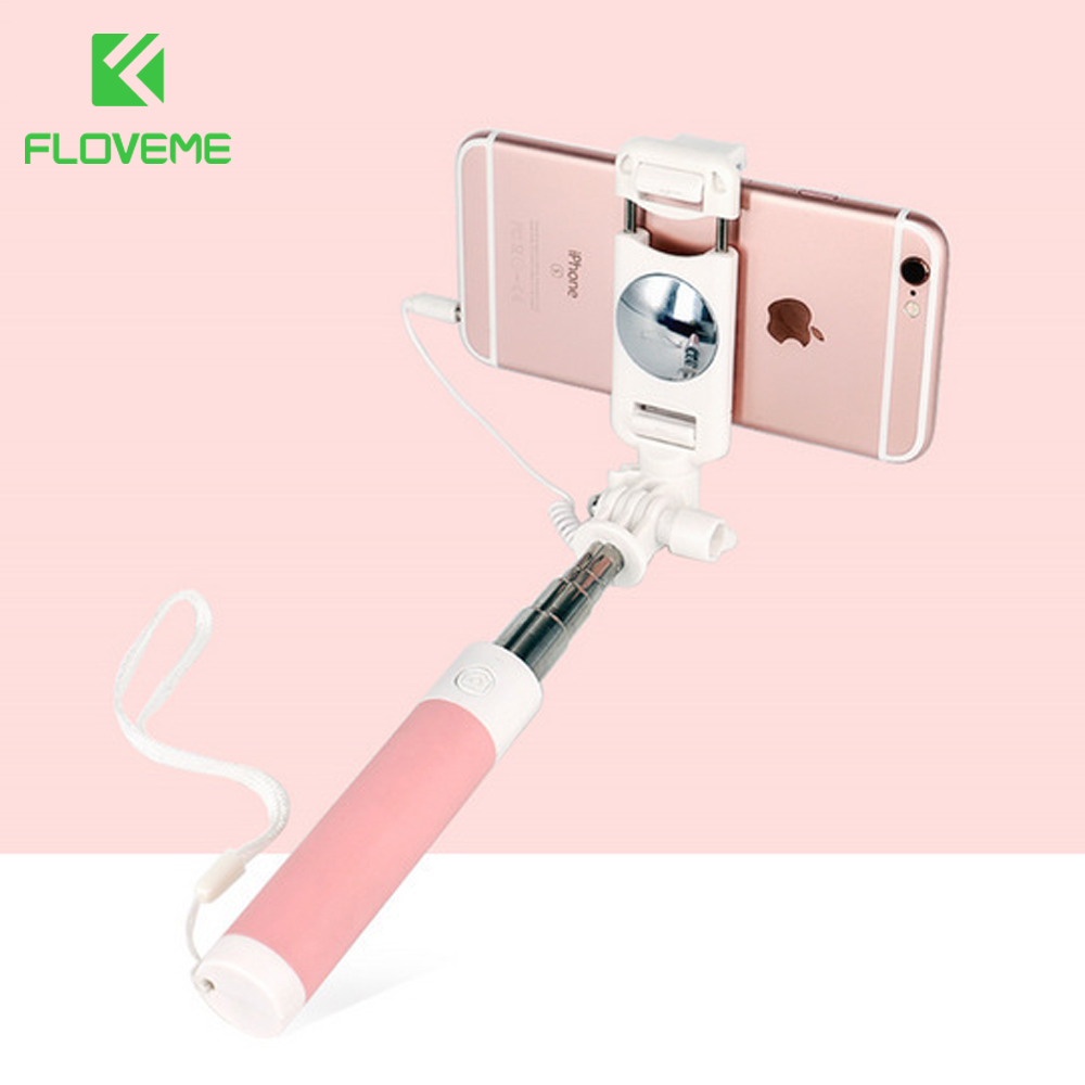 FLOVEME Wired Selfie Stick For iPhone 6 6S For Huawei Samsung Monopod Stick For Selfie Foldable Portable Selfiestick Monopod цена