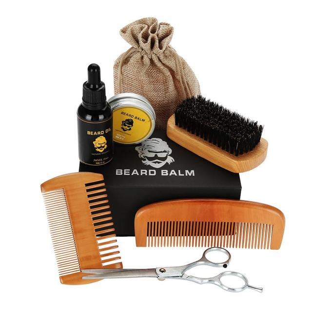 Beard Care Shave Set With Bread Oil,Balm,Brush,Comb,Scissors And Bag Kits Shaping Mustache Moisturizing Trimming Beard Care Sets