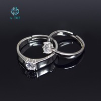 S925 Silver Couple Ring Simple adjustable Engagement Ring Women's Wedding Band Free shipping