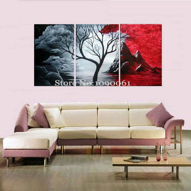 Handmade abstract natural scenery painting black white red canvas art set of 3 pieces modern oil