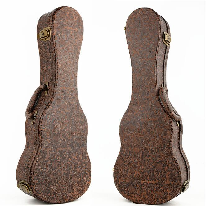 Top Quality 23 inch Ukulele Small Guitar Case Bag Best Protection With High Quality Leather Solid Wood Structure Thickened Plush niko black 21 23 26 ukulele bag silver edge nylon soprano concert tenor soft case gig bag 5mm thick sponge
