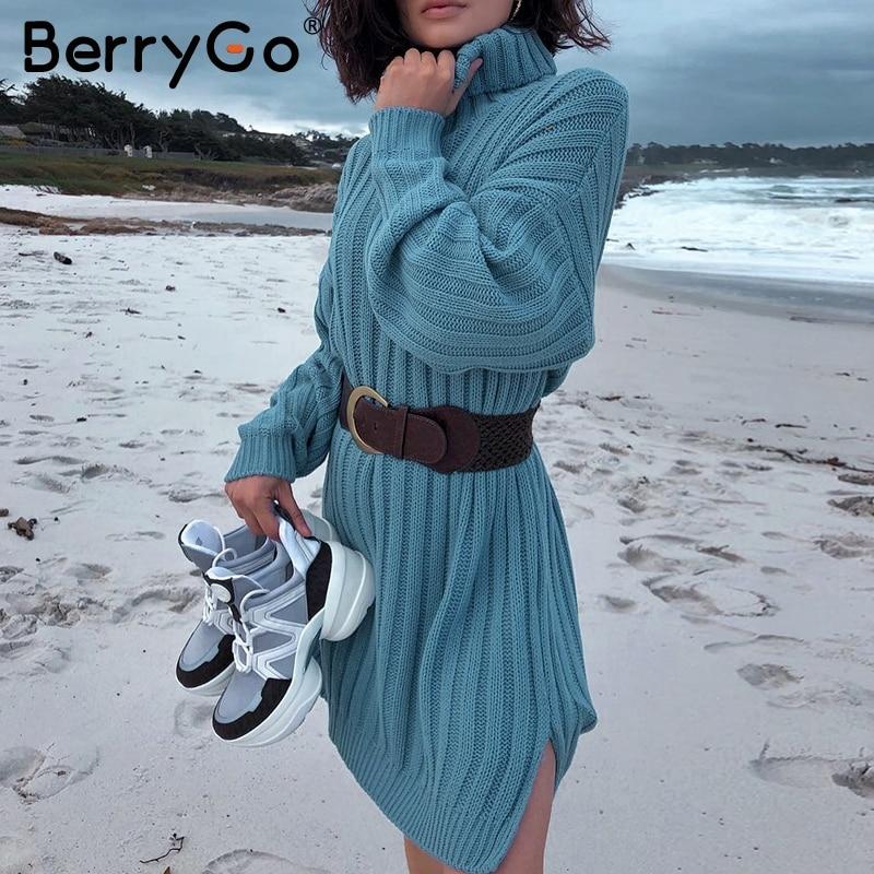 BerryGo Elegant White Knitted Dress Women Turtle Neck Female Autumn Sweater Short Dresses Casual Holiday Ladies Winter Vestidos